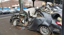 Wrecked Camry in the Bronx on Broadway