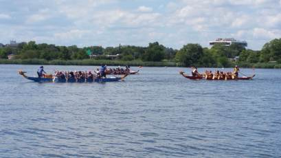 Dragon boats returning to dock